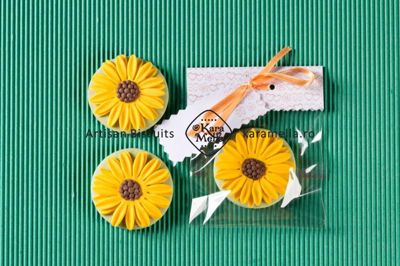 Biscuiți decorați marturii Floarea Soarelui